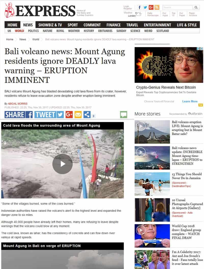 Bali volcano news: Mount Agung residents ignore deadly lava warning – eruption imminent